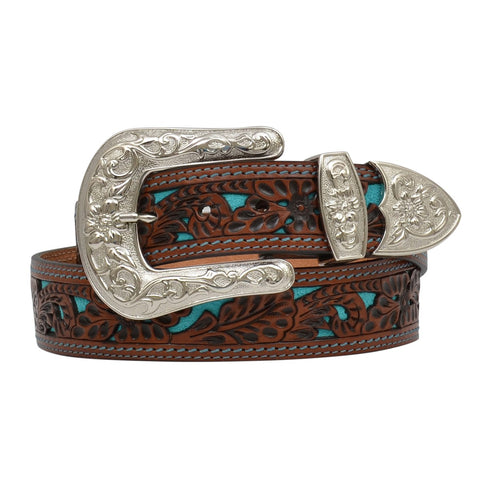 Angel Ranch Ladies Natural Floral Filigree Turquoise Inlay Belt DA1061
