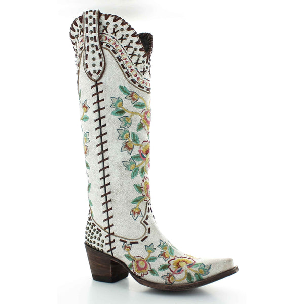 Double D Ranch Ladies Almost Famous Taupe Floral Studs Boots DDL026-1