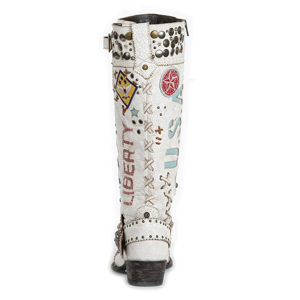 Double D Ranch Ladies Liberty & Justice Crackled White Boots DDL020-1
