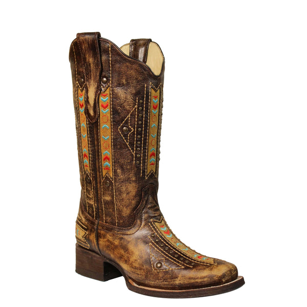 Corral Ladies Cognac Ethnic Embroidery Inlay & Stud Boot E1185 - Wild West Boot Store