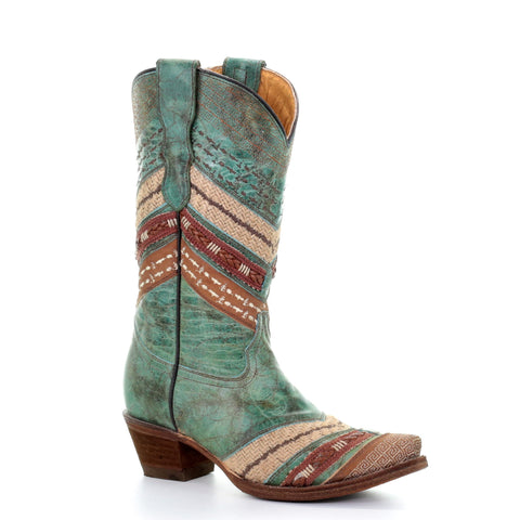 Corral Children's Turquoise & Brown Embroidered Boot E1343