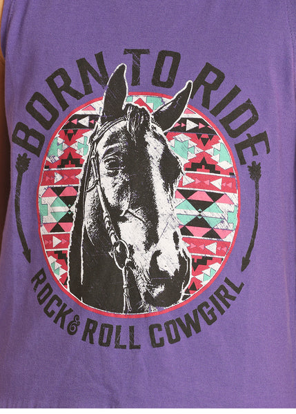 Rock & Roll Cowgirl Kids Born To  Ride Graphic Purple Tank Top G1-4642