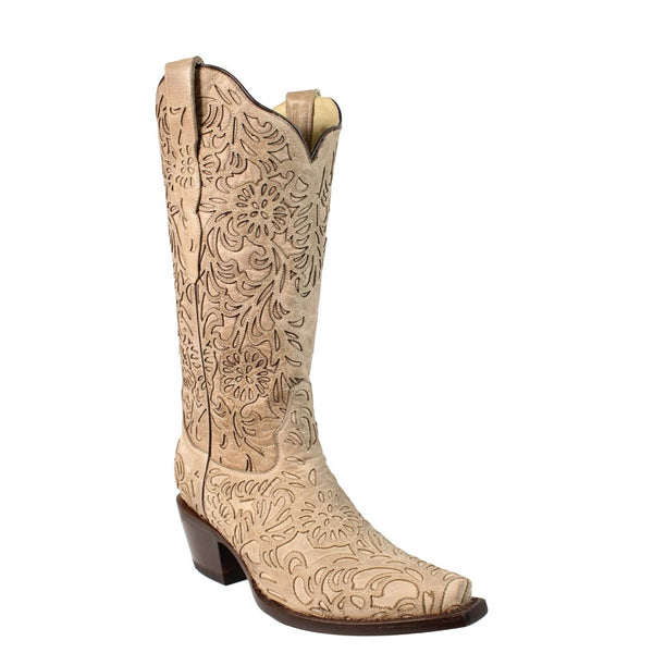Corral Ladies Bone Embroidery Laser Cut Wedding Boot G1388