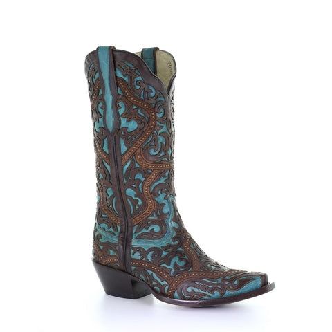 Corral Ladies Turquoise with Brown Laser Overlay & Studs Boots G1415