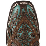 Corral Ladies Turquoise with Brown Laser Overlay & Studs Boots G1416 - Wild West Boot Store