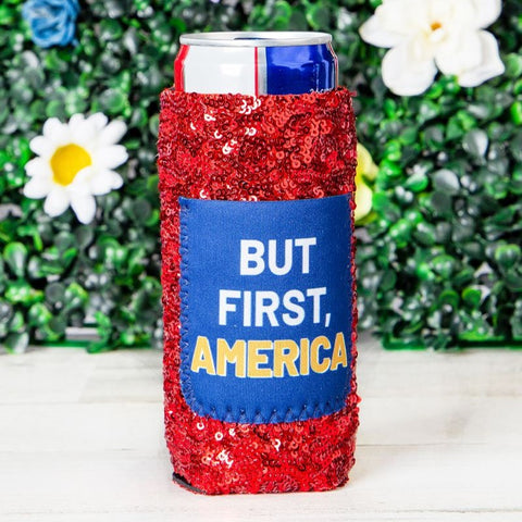 Peachy Keen But First, America Sequin Slim Can Koozie 81064SC
