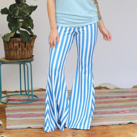 Turquoise Haven Ladies Blue Striped Wide Bell Bottom Pants 8003-BLU