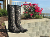 Corral Ladies Black Full Inlay and Stud Boot A3590