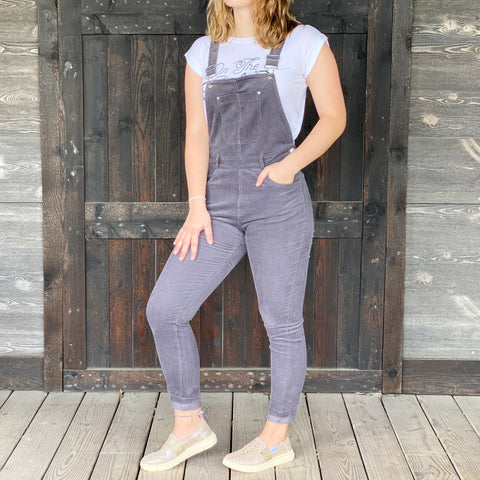 Listicle Ladies Charcoal Slim Stretch Corduroy Overalls LRP0189-CHA
