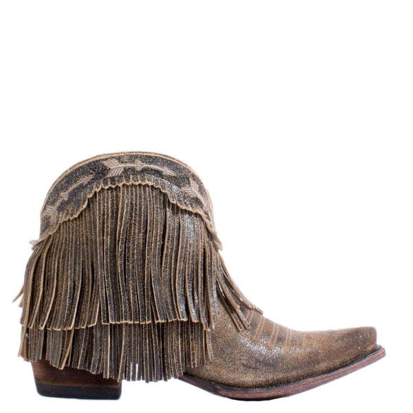 Junk Gypsy Lane Ladies Spitfire Distressed Tan Fringe Bootie JG0007H - Wild West Boot Store