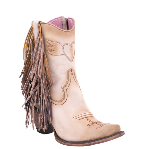 Junk Gypsy Ladies Spirit Animal Bone Suede Fringe Ankle Boot JG0040C - Wild West Boot Store