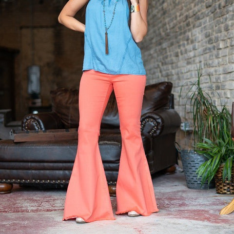 L&B Ladies Mid Rise Coral Flare Bell Bottoms L19008-LC