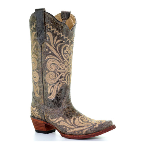 Circle G by Corral Ladies Distressed Green/Beige Filigree Boots L5407 - Wild West Boot Store