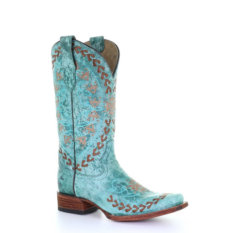 Circle G By Corral Ladies Turquoise & Brown Embroidery Boots L5505
