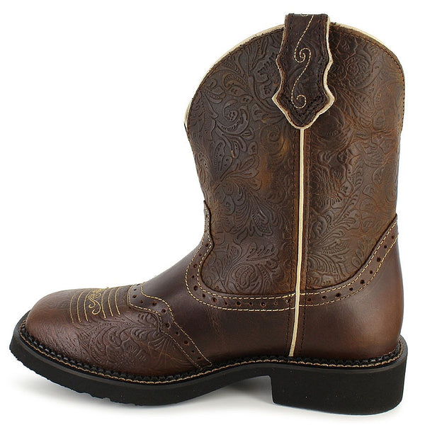 Ladies Justin Gypsy Brown Flower Embossed Gypsy Boots L9618
