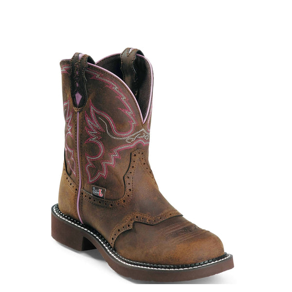 Justin Ladies Gypsy Aged Bark with Pink Piping Boots L9903