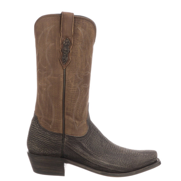 Lucchese Men's Carl Chocolate Sanded Shark Leather Boots M3105.74 - Wild West Boot Store