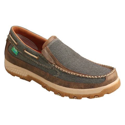 Twisted X Men's Olive Slip- On Driving Moc Shoe MXC0007