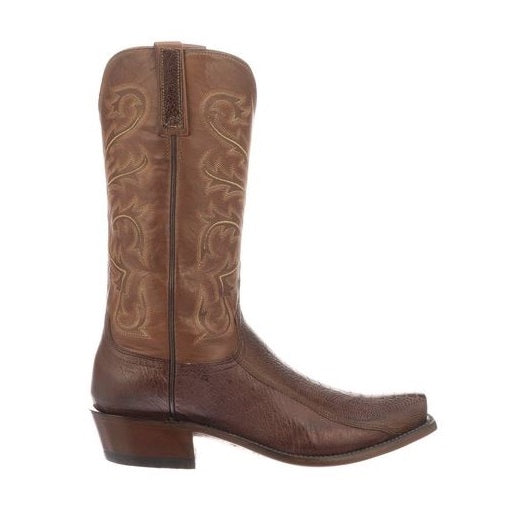 Lucchese Men's Nick Chocolate Ostrich Leg Western Boots N1146.54