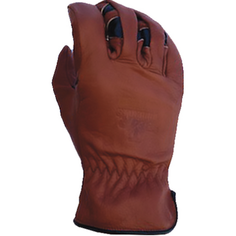 Bear Knuckles Regular Duty Double Wedge Brown Leather Work Gloves D451