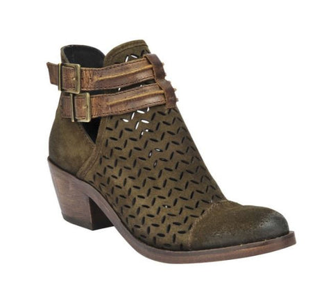 Circle G Ladies Olive Green Laser-Cut Suede Bootie P5125