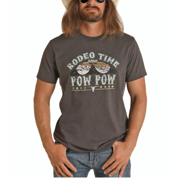 Rock & Roll Cowboy Mens Dale Brisby Graphic Charcoal T-Shirt P9-7409