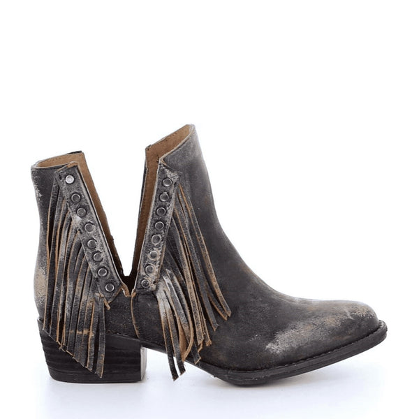 Circle G by Corral Ladies Black Studs & Fringe Booties Q5089
