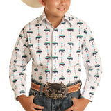 Panhandle Snap Button Buffalo Print White Shirt R2S8455