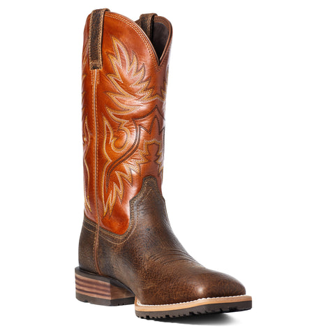Ariat Men's Hybrid Big Boy Orange and Brown Square Toe Boots 10035925