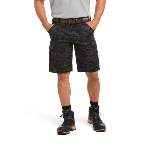 Ariat Mens Rebar Relaxed Durastretch Black Camo Cargo Shorts 10034682