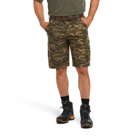 Ariat Mens Rebar Relaxed Durastretch Olive Camo Cargo Shorts 10034723