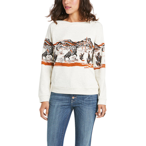 Ariat Ladies Old West Egret Long Sleeve Sweatshirt 10034809