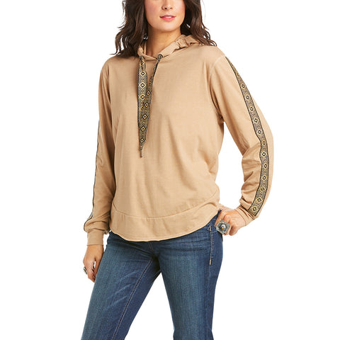 Ariat Ladies Joshua Tree Nutty Long Sleeve Hoodied Shirt 10034811