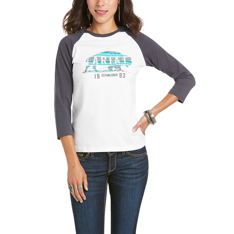 Ariat Ladies R.E.A.L Plains White Screenprint Shirt 10034877