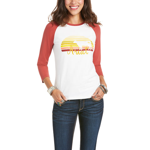 Ariat® Ladies R.E.A.L.™ Dappled Dawn White Raglan T-Shirt 10035195