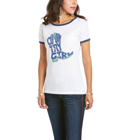 Ariat Ladies Farm Boot Country Girl White SS T-Shirt 10035795
