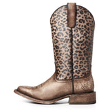 Ariat Ladies Circuit Savanna Leopard Print Square Toe Boots 10035942