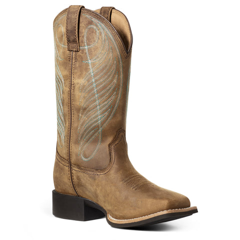 Ariat Ladies Round Up Wide Square Toe Waterproof Brown Boots 10036041