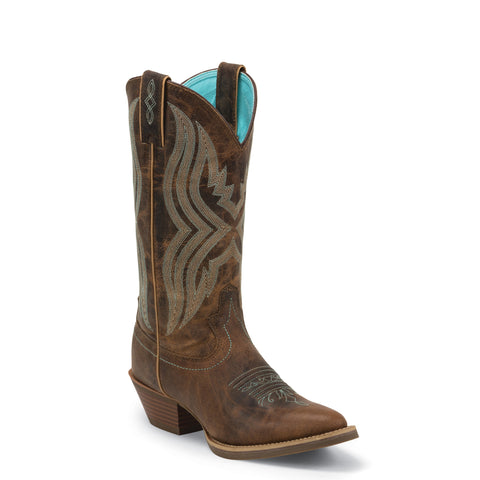 Justin Ladies Waxy Coffee Turquoise Stitching Western Boot SVL2002