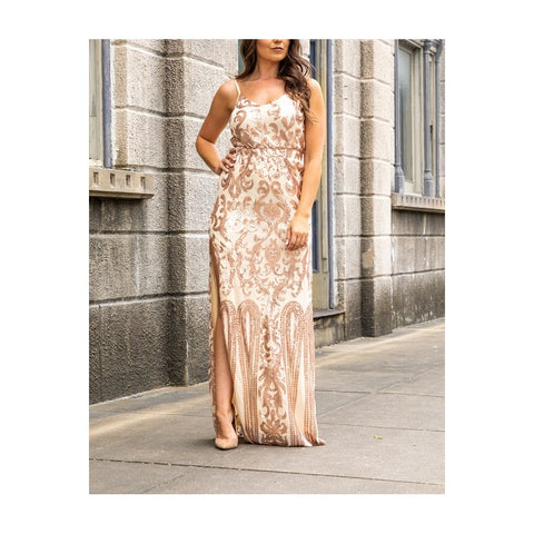L&B Ladies Rose Gold Sequin Maxi Dress SZ-2564-ROSE