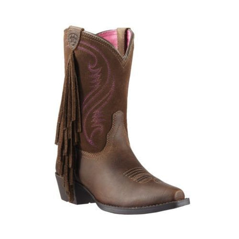 Ariat Children's Fancy Fringe Brown & Pink Cowboy Boots 10011908 - Wild West Boot Store