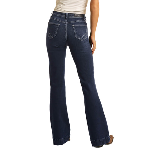 Rock & Roll Cowgirl High Rise Trouser Extra Stretch Jeans W8H4165