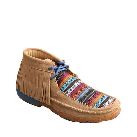Twisted X Ladies Brown Serape Fringe Driving Moc WDM0064
