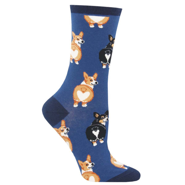 SockSmith Ladies Corgi Butt Blue Crew Socks WNC1595-BLU