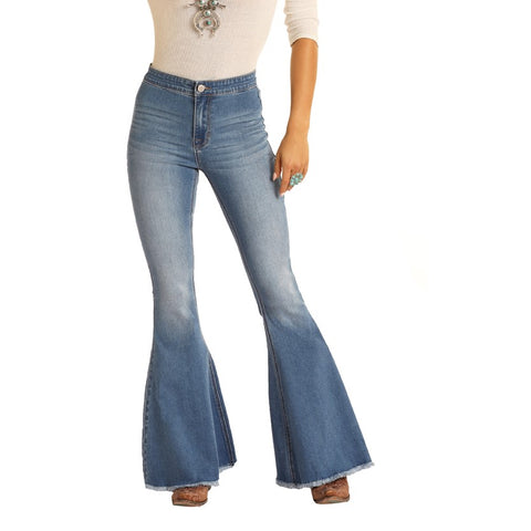 Rock & Roll Cowgirl Ladies Bargain Bell Bottom High Rise Jeans WPB8177
