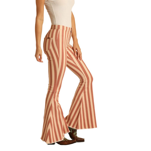 Rock & Roll Cowgirl Ladies Ivory Stripe Bell Bottom Jeans WPB8178