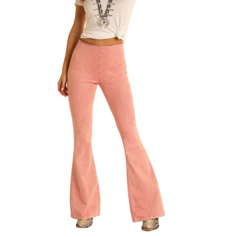 Rock & Roll Cowgirl Ladies High Rise Flare Coral Denim Jeans WPH8176