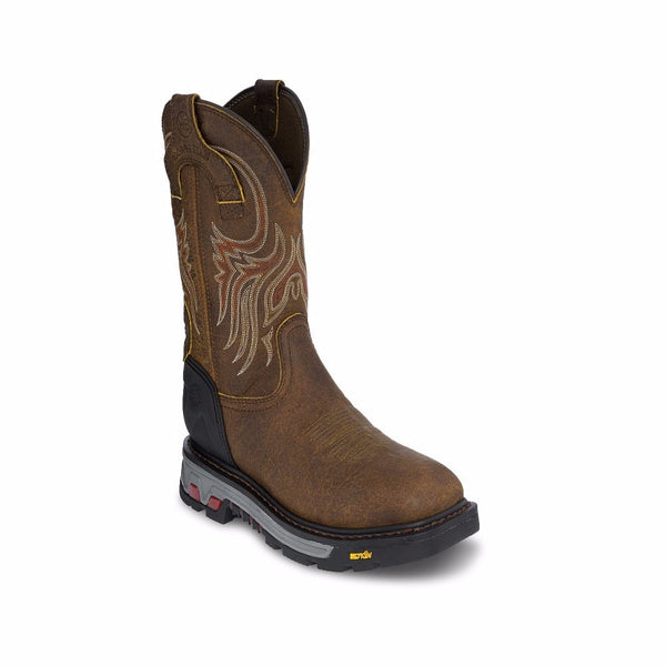 Justin Men's Tumbled Mahogany Waterproof Commander-X5 Work Boot WK2113 - Wild West Boot Store