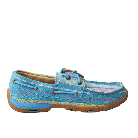 Twisted X Ladies Blue Multicolor Canvas Driving Mocs WDM0048 - Wild West Boot Store
