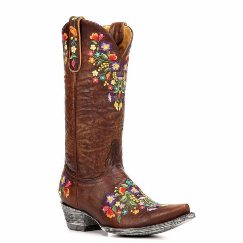 "Old Gringo Sora 13"" Multicolor Floral Embroidery Boots - Brass L841-3 - Wild West Boot Store"